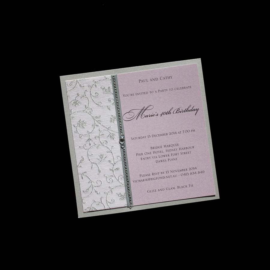 Lovely Soft Invitation With Silver Chiffon Stock Satin Ribbon And Just A Touch Of Bling
